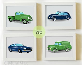 Boys Nursery Wall Art Vintage Cars and Truck Childrens Art , Boys Room Decor, set of 4 Transportation Wall Art Prints, Navy and Green