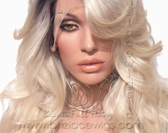 HUGE SALE// Dark root blonde lace front wig Champagne ombre blonde lace wig celebrity lace front wig Kardashian lace front wig drag queen