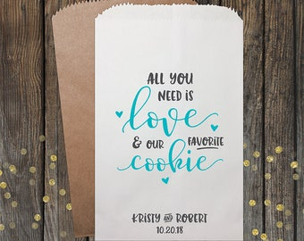 Cookie Wedding Favor Bags, Cookie Bags, Wedding Favors, Personalized Wedding Favor Bags, Cookie Treat Bags, Custom Favor Bags, Kraft 174