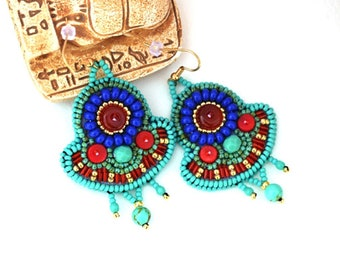 Turquoise Red Egyptian earrings Ancient Egypt inspired bead embroidered earrings Ancient look Beaded Isis jewelry Egyptian goddess earrings
