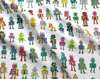 Robots Fabric - Robot Line-Up On White By Cecca- Robot Sci-Fi Retro Vintage Toy Robotics Colorful Cotton Fabric By The Yard With Spoonflower