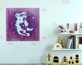Teddy bear painting titled Messy teddy I  - Free shipping to Canada