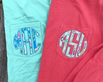 LONG Sleeve Comfort Colors Monogram Pocket Tee, Comfort Colors, monogram pocket tshirt, monogram pocket tee for women