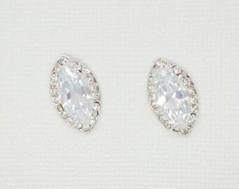 Petal Cubic Zirconia Earrings - Silver CZ Stud Earrings, Crystal Earrings, Bridesmaid Earrings, Bridal Earrings, Wedding Earrings, Jewelry