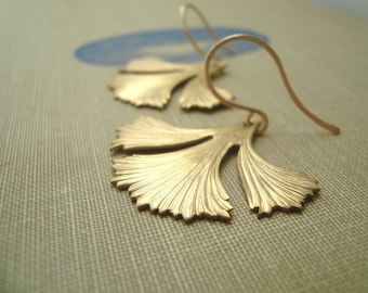 Ginkgo Leaf Earrings Brass Jewelry Fall Fashion Nature Inspired Art Deco Art Nouveau Zen Asian Style Gifts Under 40 Bridesmaid Jewelry