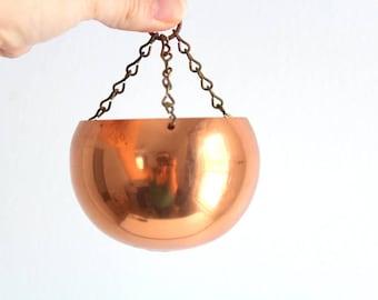 Copper Planter, Coppercraft Pot, Copper Pot, Hanging Copper Pot, Hanging Copper Planter, Copper Plant Holder, Copper Candle Holder Tea Light