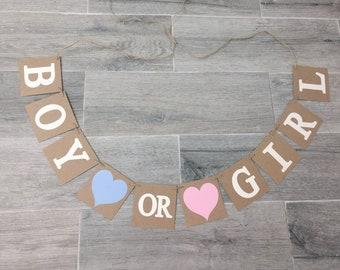 Boy or Girl banner,Gender reveal,baby shower decorations,photo prop gender reveal, chipboard banner