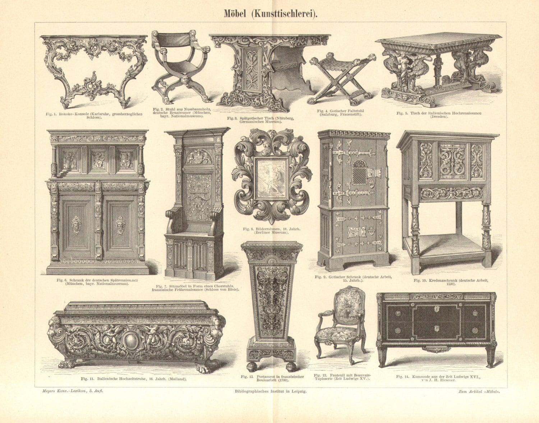 1896 Antiguo Grabado De Muebles Pocas Y Estilos G Tico # Muebles Renacentistas