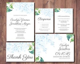 Printable Wedding Invitation, Floral Wedding Invitation, Hydrangea Wedding Invitation, Pastel Blue Wedding Invite, Hydrangea Invitation