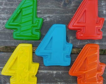 Number 4 Crayons set of 40 - Kids 4th Birthday Party Favors - 4th Birthday - Fourth Birthday Party Favor - Number Crayons - Kids Party Favor