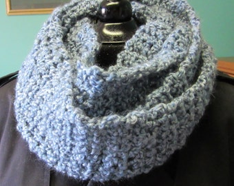 Blue Infinity Scarf, Chunky, Extra Long, Cowl, Crochet, Circle, Loop, Womens/Mens, Warm, Soft, Super, Bohemian, Handmade, Neckscarf, Easter