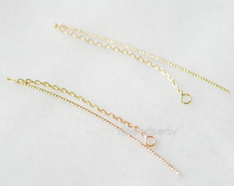 10pcs Gold plated Brass Ear Threader Earrings, Bar Chain Earring, Earwire Thread with Jump Ring  (GB-222)