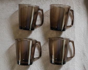 Pyrex 1400 collection - Set of 4 Amber Brown Glass Mugs