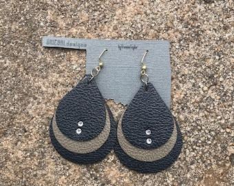 Faux Leather, Swarovski Crystal Earrings