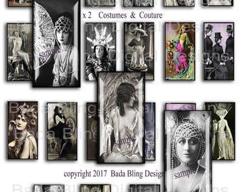 1 x 2, Costumes and Couture, INSTANT Download, collage sheets for jewelry,vintage women,art deco, victorian, Casino de Paris, 1 x 2 pendants