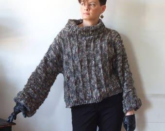Alpaca sweater, cropped sweater, loose alpaca shrug, turtleneck pullover, gray melange jumper, hand knit sweater, oversized sweater tunic