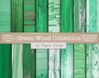 Green wood digital paper, green wood backgrounds, green wood scrapbook paper, green wood images, green wood textures, shabby wood, panels