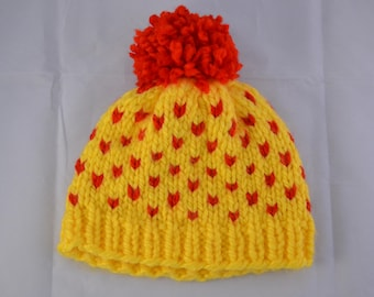 Yellow and Red Beanie with Pom Pom | Fair Isle