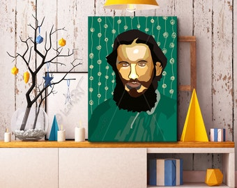 """Portrait """"Lew"""" - Tribute To Lew Tolstoi  FRAMED ART, Literature, iconArt, Personalized Gift, Name Book Lover Gift For Women"""