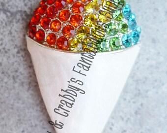 Original Design Silver Rainbow Rhinestones Snowcone Pendant  - Chunky Necklaces - 50mm X 28mm