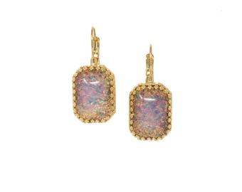 Fire Opal Earrings, Dangle Earrings, 19th Century Earrings, Reproduction Georgian Paste Earrings, Octagon Opal Earrings, Pink, Blue, Green