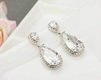Bridal Teardrop Earrings | Zircon Earrings | Wedding Earrings | Crystal Wedding Earrings | Bridesmaid earrings