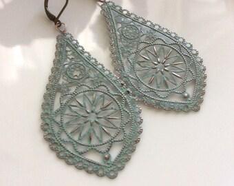 Bohemian Earrings     Light Blue Patina Earrings     Long Dangle Filigree Earrings    Gypsy Dangles