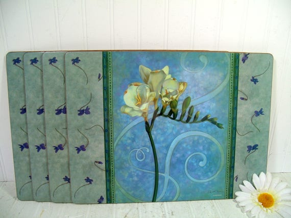Blue Pimpernel Placemats Set of 4 Large Laminated Cork Board