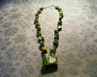 beautiful pendant necklace, original, stylish, trendy summer (green, purple and yellow)