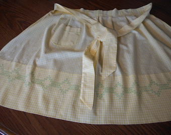 Vintage, Handmade Yellow Gingham Apron with Chicken Scratch Embroidery