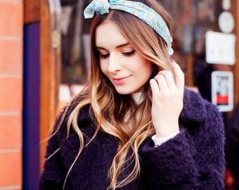 Paisley Head Scarf, Blue Paisley Hair Scarf, Paisley Hair Tie, Bandana, 70s Vintage Head Scarf