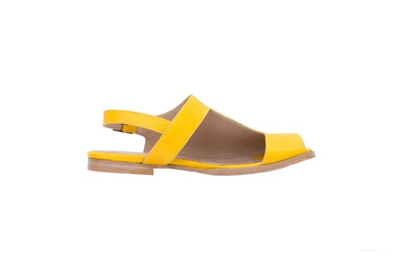 toe square free sandals geometric adikilav Yellow Leather slingbacks shoes and cutout and with women's metal buckle handmade flat shipping S4q7wx7F