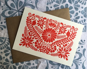 Mexican Embroidery Pattern Hand Printed Card