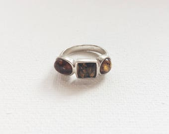 1970s Vintage Amber + Sterling Silver Ring