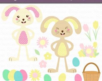 Easter Bunny Clipart Digital Art Set INSTANT DOWNLOAD Easter Clipart Bunny Clipart Spring Clipart Egg Hunt Clipart