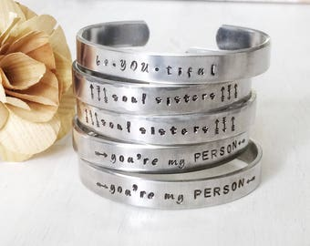 soul sisters - beYOUtiful - you're my PERSON - hand stamped silver cuff bracelet choose one
