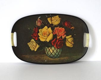 Mid Century Decorative Tray with Bunch of Roses and Scoubidou
