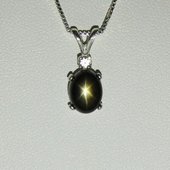 Genuine black star sapphire necklace pendant sterling silver aloadofball Choice Image