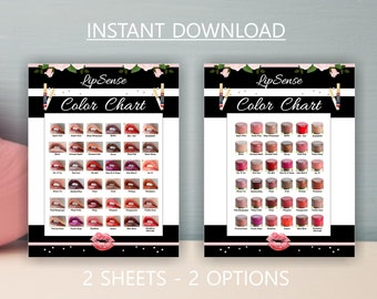 LipSense COLOR CHARTS * 36 Colors * Two Options * LipSense 2017 Colors * LipSense Display * Instant Download * LipSense Business -LSBWS01
