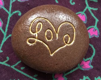 Love in Heart Etched Stone