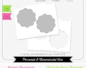 5 inch Bunting Pendant Flag Banner Scallop Template - INSTANT DOWNLOAD - PRINTABLE - Make your own party printables