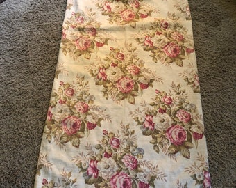 Four vintage barkcloth drapery panels, pink and cream floral