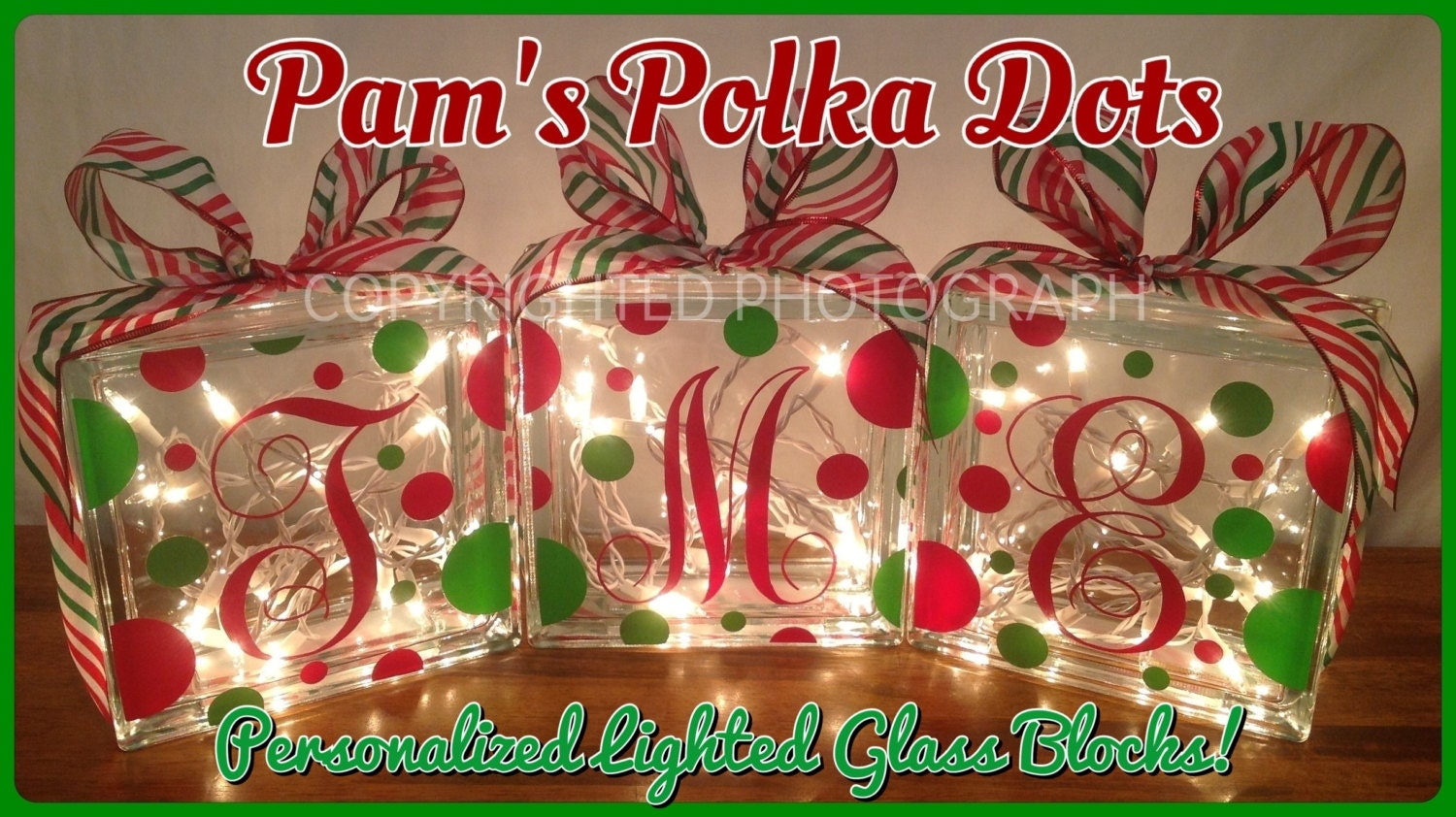 personalized lighted christmas glass block with monogram initial white lights polka dots ribbon holiday decor mantel foyer entryway
