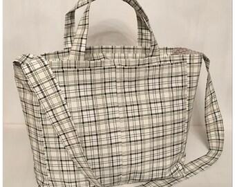 Black and cream striped canvas bag