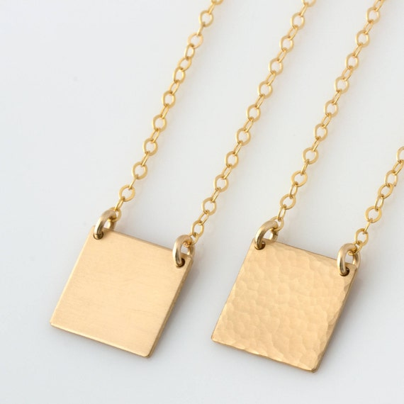 Square plate necklace simple necklaces for women square square plate necklace simple necklaces for women square pendant necklace gift for her 14k gold fill sterling silver n208 aloadofball Images