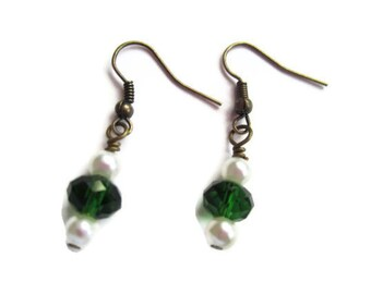 Green Christmas Dangle Earrings, Girls Jewelry, Fun Jewelry