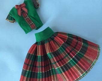 Pre-order: Pullip Blythe doll green and red plaid blouse and pleated skirt set