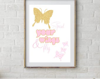 Butterfly Art Print, Pink Gold Nursery, Girls Room Butterfly Art, Butterfly Printable Art, Butterfly Poster, Pink Butterfly Wall Art Decor