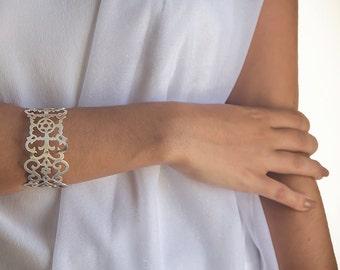Star of David Jewelry, Silver Lace Bracelet, Magen David, Cuff Bracelet, Jewish Jewelry, Wide Cuff Bracelet, Cuff Bracelet, Free Shipping
