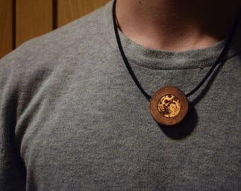 Moon Necklace - Burnt Wooden Pendant - Pyrographed Moon Phase Necklace  - Inspirational hippie amulet - star Gift - Unique jewelry